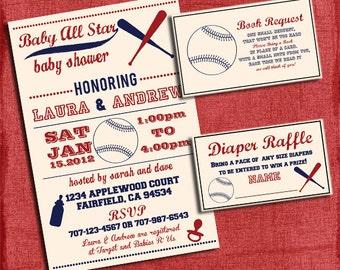Printable Baby Shower Baseball Themed Invitation Set: Invite + Diaper Raffle Ticket + Book Request - I design you print