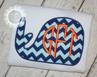 Boy's Whale Monogram Applique - Summer Shirt - Monogram - Boy's Summer Design