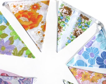 Vintage Bunting - Retro Pretty Multi-Colour Floral Flag .  HANDMADE . Wall hanging, Parties, Party, Wedding etc .  Made in Australia
