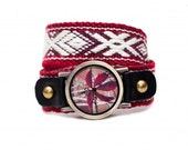 Hand watch with hand-woven strap, photo watch, folk, bracelet, gift box, unisex