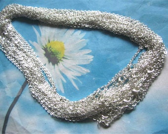 12pc 16 inch 3x2mm silver plated flat cross chain necklace---very strong