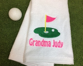 Embroidered golf towel, personalized gift with one name or one line