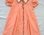Vintage Girls Dress 5T to 6T Handmade 1930s Shirley Temple Peach Cotton