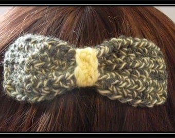 Boho Hippie  Crocheted Hair bow clip! Hand-dyed yarn!  Ready to ship!