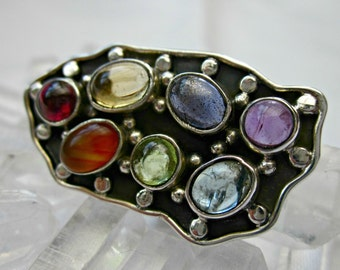 chakra ring sterling silver amazing gems plate