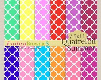 ON SALE Digital paper pack 7.5x11, Summer Quatrefoil, scrapbooking , No.27, yellow, green , pink , blue