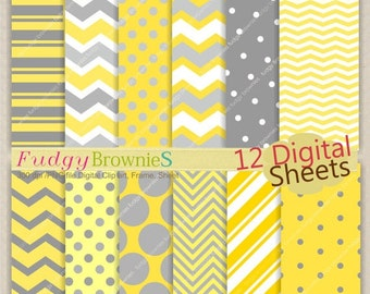 ON SALE Digital paper pack 7.5x11,Yellow and gray Digital background , No.92 printable background yellow and  grey  Instant download