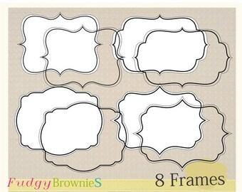 ON SALE Digital frame, Line Frames clipart, digital scrapbooking frames.A-06, Instant download