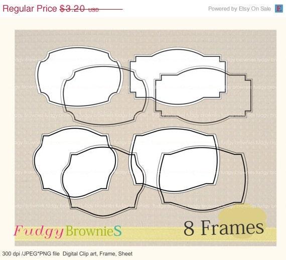ON SALE Digital frame, Line Frames clipart, digital scrapbooking frames.A-04 ,  Instant download