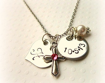Girl's Baptism Gift.  Birthstone Cross Necklace. Children's Stamped Date & Initial Charm Necklace. First Communion Gift. Birthstone Jewelry