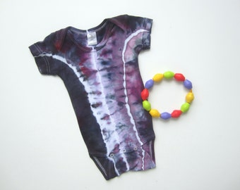 Infant One-piece Tie-dyed in Purple with Gray and White, 6 to 12 Months