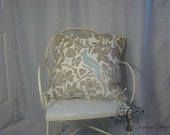 "Premier Prints/ Barber pattern/Taupe & Blue Robin - Pillow Cover - 20"" x 20"""