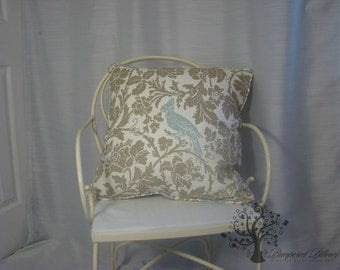 """Premier Prints/ Barber pattern/Taupe & Blue Robin - Pillow Cover - 18"""" x 18"""" - 12"""" x 20"""""""