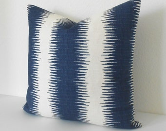 Navy blue ikat decorative throw pillow