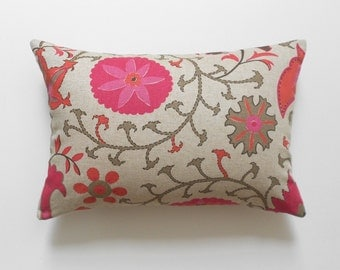 Berry red orange coral floral suzani decorative pillow cover