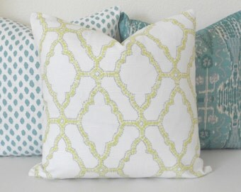 Double sided, Citrine yellow and gray moroccan quatrefoil trellis decorative pillow cover