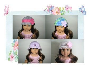 """4 NEW hand-crocheted hats that fit American Girl Doll, Bitty Baby, and 18"""" dolls"""