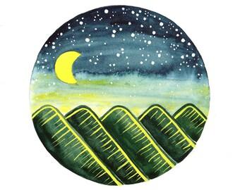 Original watercolor painting Stars Starry night mountains Celestial wall decor Nursery art