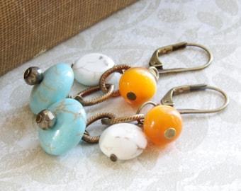 Rustic Dangle Earrings Pyrite Orange White Turquoise Bronze Brass Jewelry Autumn Fall Bridesmaid Earrings Country Farm Wedding Jewelry
