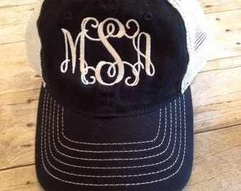Monogrammed Trucker Hat - Ladies Monogrammed Hat - Mesh Back Hat - Ladies Gift - Snap Closure -
