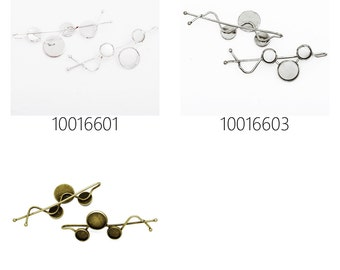 20pcs minimalist simple Hair slide with three round bezels, hair barrette, hair pin 100166