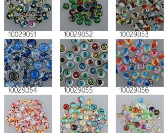 50PCS 10mm Mixed Round Flat Back Handmade Photo Glass Cabochon - Image Glass Cabochons 100290