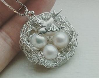 4 Eggs Bird's Nest Necklace, Bird Charm & Chain - Argentium Sterling Silver Pendant