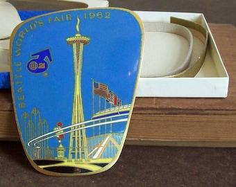 Enameled brass car emblem 1962 Seattle World's Fair enameled plaque space needle NIB made in Germany original patina