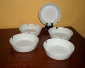 Vintage White Porcelain/SET OF FIVE/Ashtrays