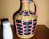 Plastic WICKER COVERED WINE/Pink/Natural/Green Bottle/Vintage/Red Wine Bottle Covering
