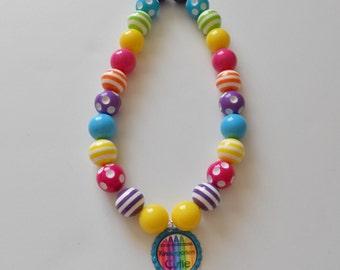 Kindergarten Cutie Back to School Bright Chunky Bubblegum Necklace