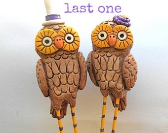 SALE Fall Owls in Love Wedding cake topper Rustic Wedding in Chocolate Mustard Mocha and Eggplant