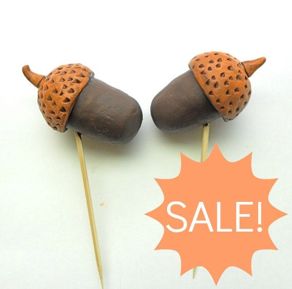 SALE Chocolate Colored Acorn Wedding Cake Topper for your Rustic Fall Wedding
