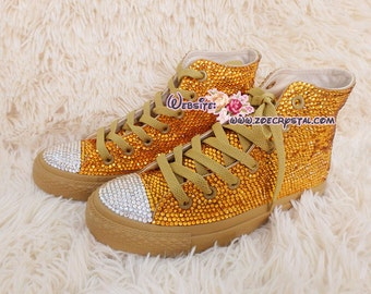 Bling CONVERSE Chuck Taylor All Star SNEAKERS with Shinning and Stylish CRYSTALS - Gold