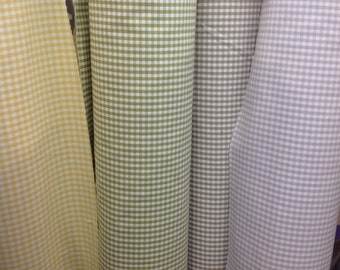 100% cotton gingham curtain weight in yellow, taupe, green, lilac by the metre