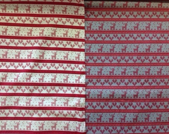 Copenhagen print knitted xmas in white or grey by the half metre 100% cotton