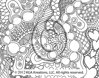 instant pdf download coloring page hand drawn zentangle inspired psychedelic paths abstract zendoodle doodle hippie by kat