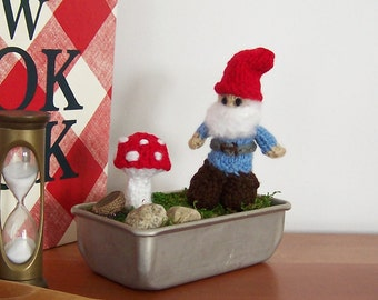 Fairy Garden Desktop Terrarium Featuring Hand Knit Gnome and Mushroom, Gift for a Gardener
