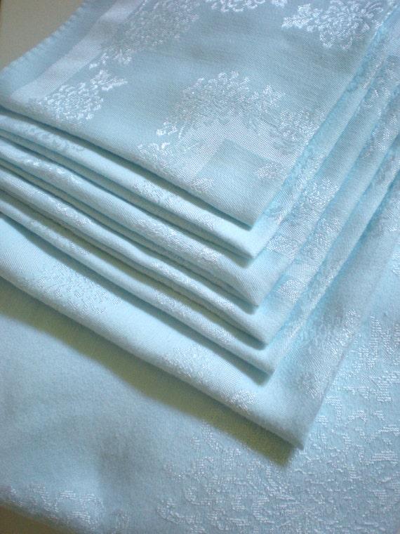 Nappe de damas bleu avec 6 serviettes de table tissu de table for Ensemble nappe et serviette de table