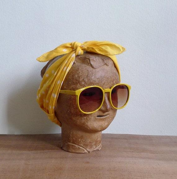20% Off (Code In Shop) - Vintage 80's Sunglasses Yellow Lemonade Oversized Sunnies