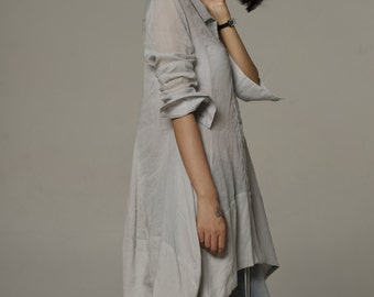 Spring Dress Dress Shirt Loose Fitting Blouse Long Shirt Dress in Pale Grey - NC573