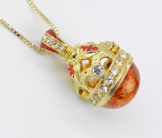 "18K Yellow Gold over Sterling Silver Red Enamel and Amber Swarovski Crystal Pendant with Chain 20"" Faberge Style Egg"