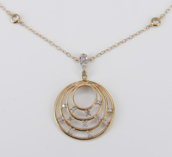 "Diamond Circle Drop Pendant Necklace 17"" Chain Yellow Gold FREE SHIPPING"