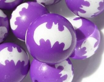 20mm, 10CT, Purple Batman Print Bubble Gum Beads, Superhero, DC Comics, Caped Crusader, Print, 20mm beads, Acrylic Beads