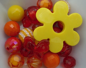 20 beads plus Large Yellow Flower Focal Bead, 20 beads, A1