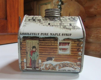 Vntg Maple Syrup Log Cabin Vermont Tin