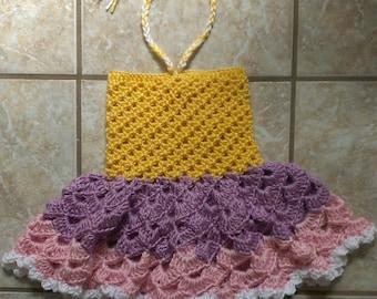 "FREE SHIPPING - Crochet Baby Girl Spring/Summer Sunshine Dress - ""Halter"" Tie Dress - In Size: 6/12mo - Photo Prop"