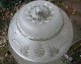 nice vintage antique 30s 40s white embossed floral CEILING LIGHT SHADE  mc
