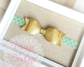 GOLD BOW Headband, Gold Hair Clip, Gold Flower, Felt Bow, Metallic Bow Headband, Photograpy Prop, Newbowrn Headband, Baby Girl Bow