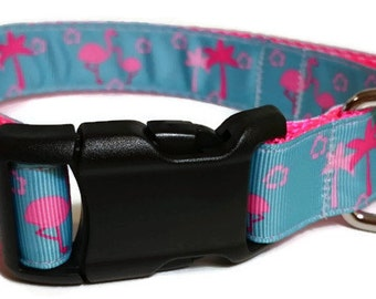 Flamingo Adjustable Dog Collar - 1 Inch Wide